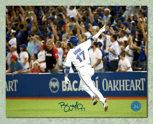 Ryan Goins Toronto Blue Jays Autographed Playoff Homerun Celebration 8x10 Photo