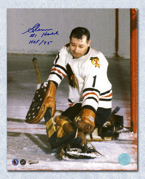 Glenn Hall Chicago Blackhawks Autographed Glove Save 8x10 Photo