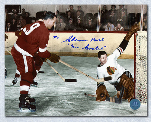 Glenn Hall Chicago Blackhawks Autographed vs Gordie Howe 8x10 Photo
