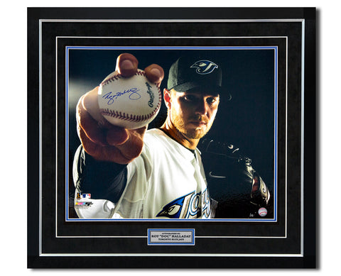 Roy Halladay Toronto Blue Jays Signed Opening Day Yankee Stadium 25x31 Frame