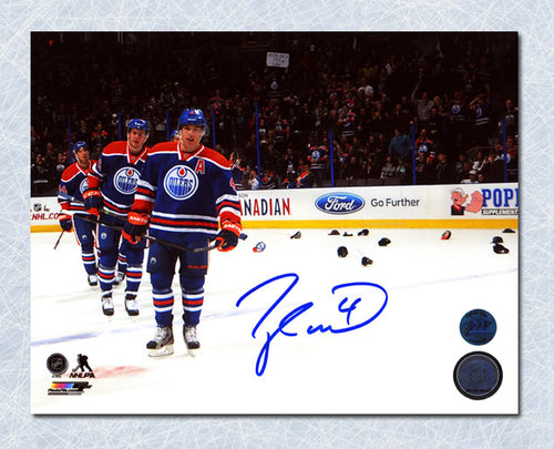 Taylor Hall Edmonton Oilers Autographed Hat Trick 8x10 Photo