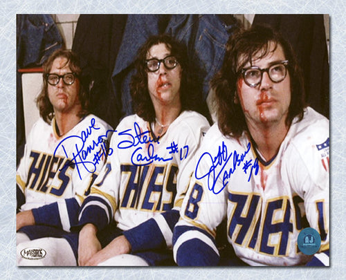 The Hanson Brothers Autographed Slap Shot Movie Post Fight Bloody 7x10 Photo
