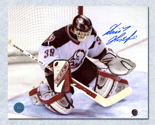 Dominik Hasek Buffalo Sabres Autographed Goal Crease Puck Save 8x10 Photo