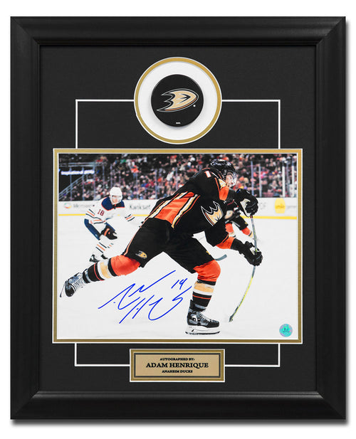 Adam Henrique Anaheim Ducks Autographed Shooting 23x19 Puck Frame