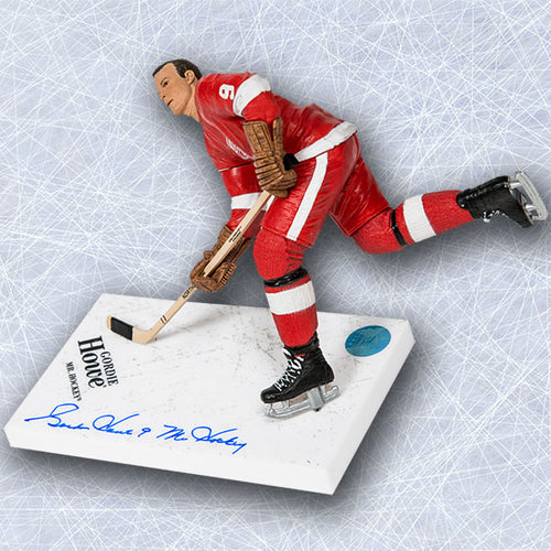 Gordie Howe Detroit Red Wings Autographed Red McFarlane SP with Mr Hockey Note
