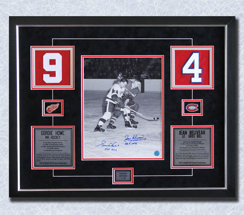 Gordie Howe vs Jean Beliveau Dual Signed Hockey Jersey Number 22x28 Frame #/10