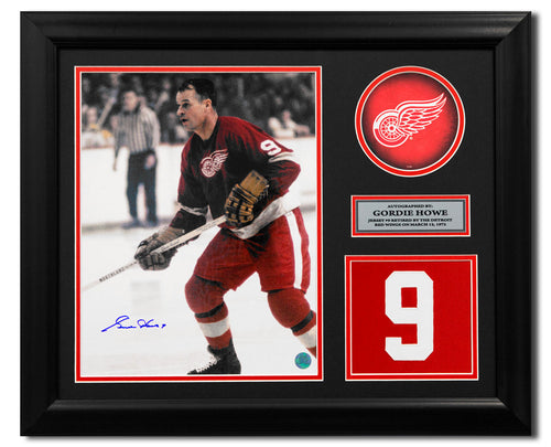082918cac19 Gordie Howe Detroit Red Wings Signed Retired Jersey Number 23x19 Frame