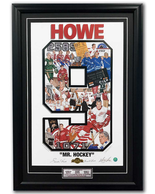 Gordie, Mark and Marty Howe Family Signed Mr Hockey Art Collage 23x33 Frame