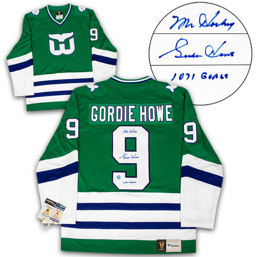 159036c9b72 Gordie Howe Hartford Whalers Autographed Fanatics Vintage Hockey Jersey  with Career Goals Note