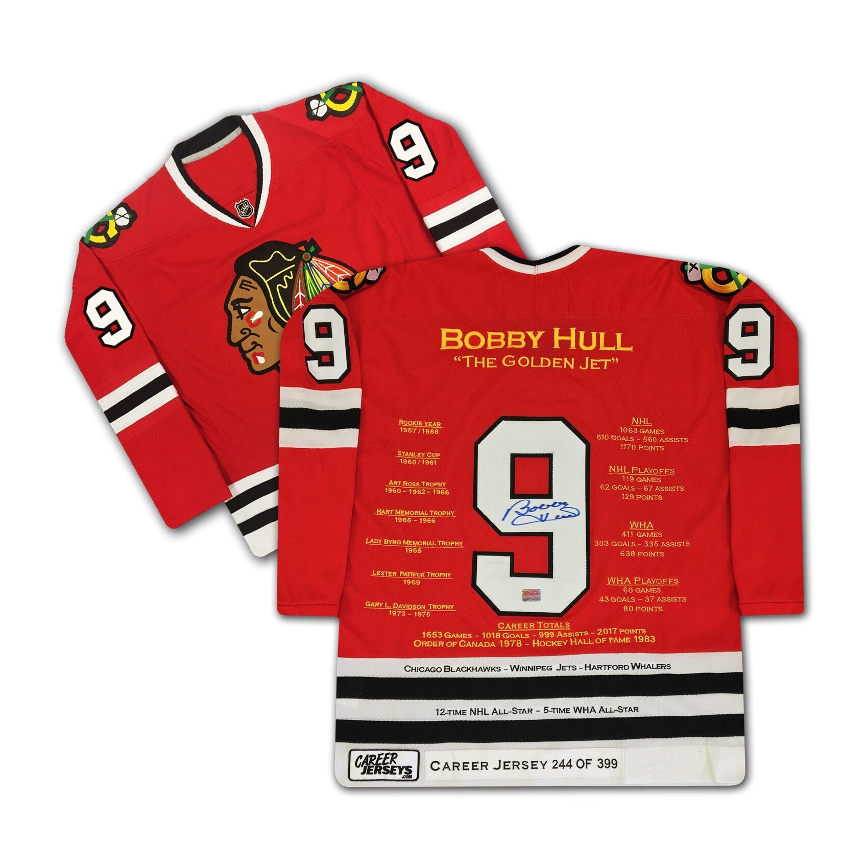 online store 416c6 98c90 Bobby Hull Chicago Blackhawks Autographed Career Stats Hockey Jersey LE/399