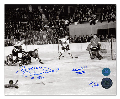 Bobby Hull vs Gump Worsley Dual Signed & Inscribed Scoring Goal #50 8x10 Photo