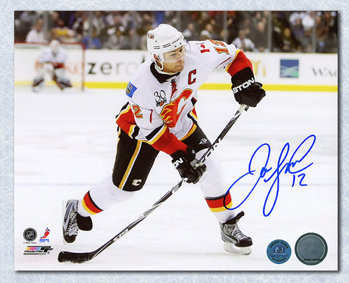 Jarome Iginla Calgary Flames Autographed Shooting Horizontal 8x10 Photo