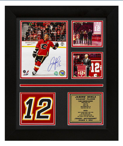 Jerome Iginla Calgary Flames Signed Jersey Retirement Night Collage 24x20 Frame
