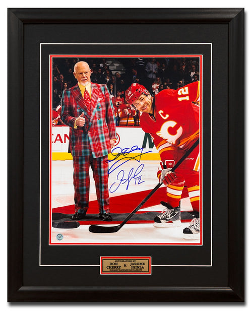 Jarome Iginla & Don Cherry Dual Signed Calgary Flames Face Off 25x31 Frame