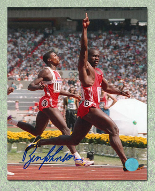 Ben Johnson Canada Autographed 1988 Olympic Gold Medal Run vs Lewis 8x10 Photo