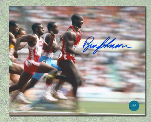 Ben Johnson Canada Autographed Olympic Games Running Fast 8x10 Photo