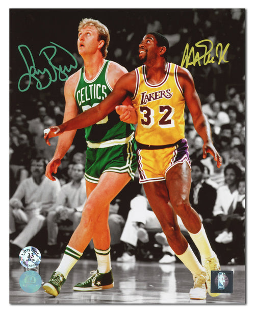 Magic Johnson & Larry Bird Dual Signed Lakers vs Celtics Spotlight 8x10 Photo