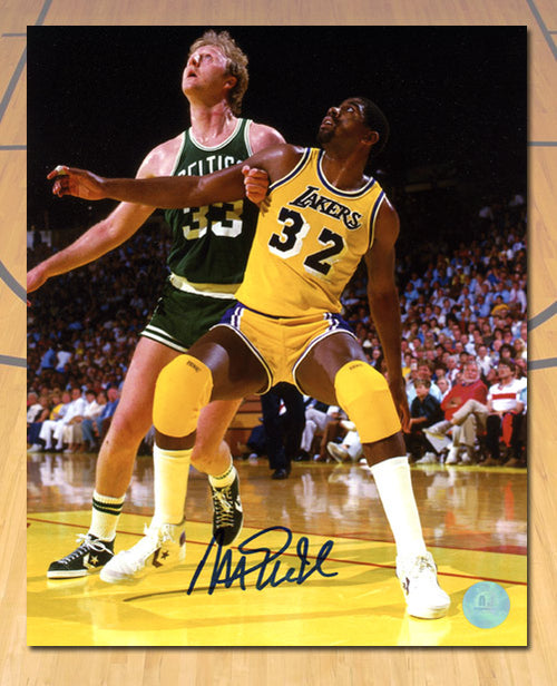 Magic Johnson Los Angeles Lakers Autographed Rivalry vs Larry Bird 8x10 Photo