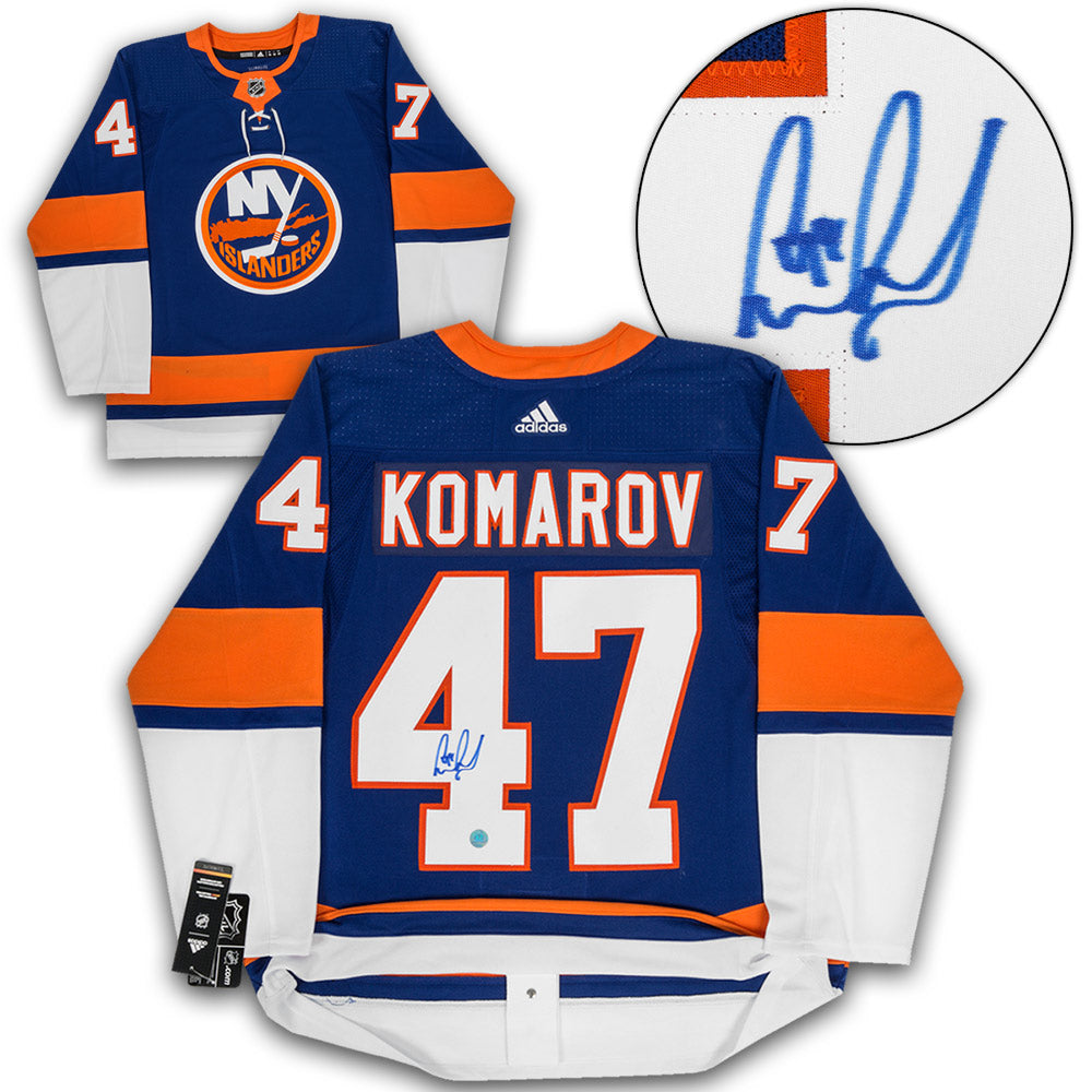 detailed look 34ba7 7b2f7 Leo Komarov New York Islanders Autographed Adidas Authentic Hockey Jersey