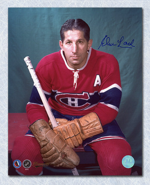 Elmer-Lach-Montreal-Canadiens-Autographed-Color-Pose-8x10-Photo