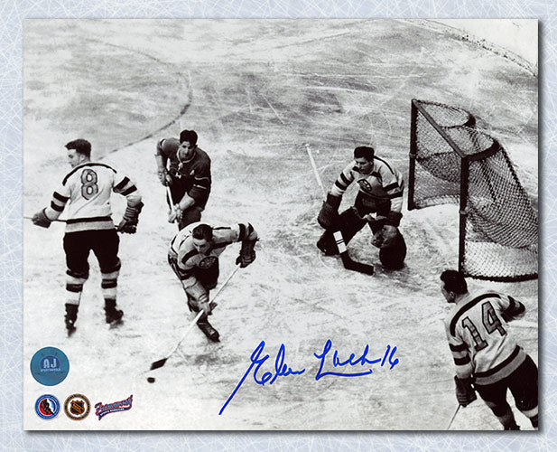 Elmer-Lach-Montreal-Canadiens-Autographed-Vintage-Action-vs-Boston-8x10-Photo