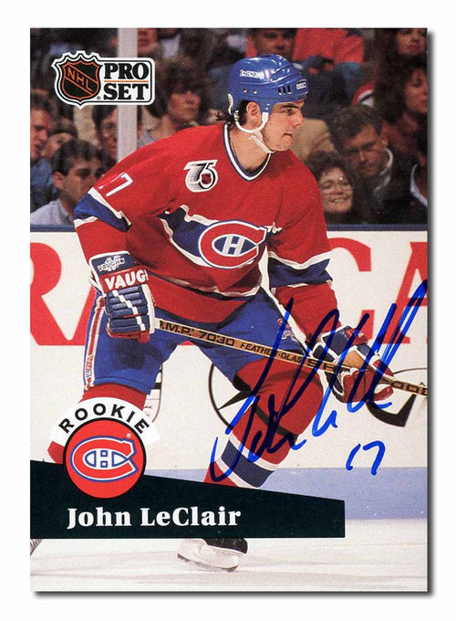 John Leclair Autographed 1991-92 Pro Set Rookie Card