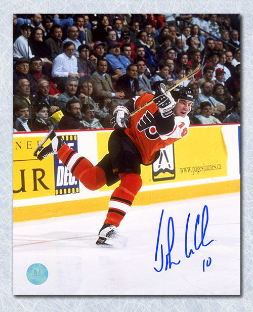 John Leclair Philadelphia Flyers Autographed Action 8x10 Photo
