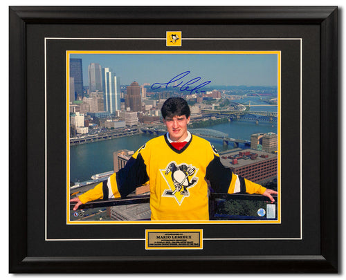 Mario Lemieux Pittsburgh Penguins Autographed NHL Entry Draft 25x31 Frame