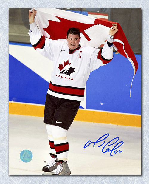 Mario Lemieux Team Canada Autographed 2002 Olympic Gold Victory 8x10 Photo