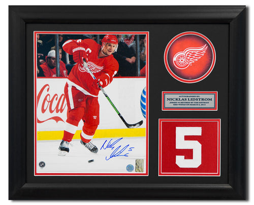 Nicklas Lidstrom Detroit Red Wings Signed Retired Jersey Number 23x19 Frame
