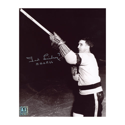 Ted Lindsay Detroit Red Wings Autographed Shooting The Stick 8x10 Photo