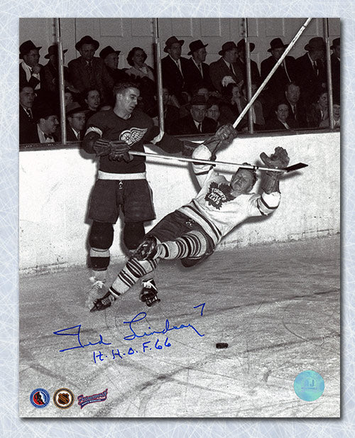 Ted Lindsay Detroit Red Wings Autographed Knocks Down Leaf 8x10 Photo