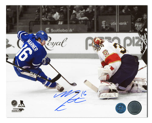 Mitch Marner Toronto Maple Leafs Autographed Rookie Breakaway Goal 8x10 Photo