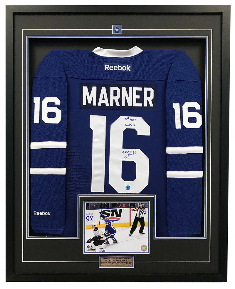 Mitch-Marner-Toronto-Maple-Leafs-Signed-&-Dated-1st-NHL-Goal-36x44-Framed-Jersey-