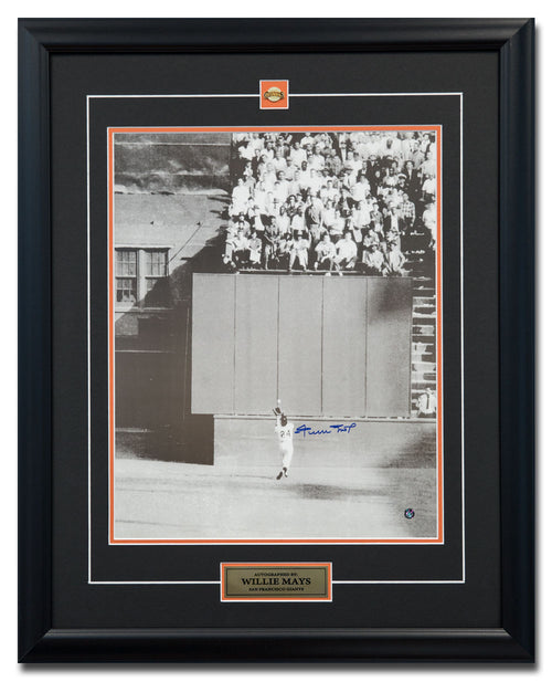 Willie Mays San Francisco Giants Autographed World Series Catch 25x31 Frame