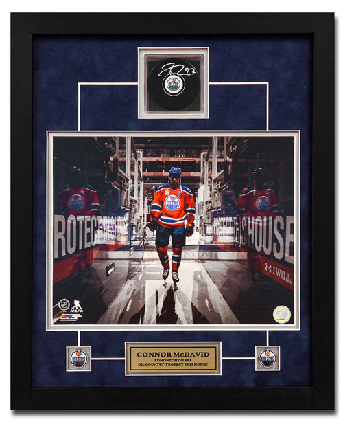 Connor McDavid Edmonton Oilers Autographed Hockey Puck 22x18 Shadow Box Frame