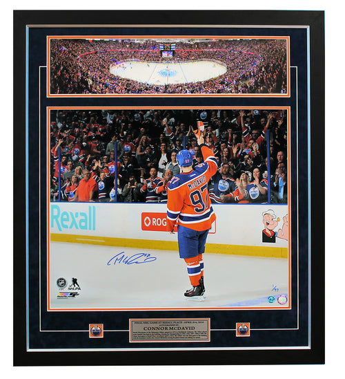 Connor McDavid Edmonton Oilers Autographed Final Game At Rexall 31x35 Frame #/97
