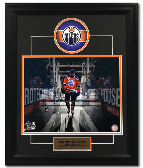 Connor McDavid Edmonton Oilers Rogers Place 'Protect This House' 23x19 Frame