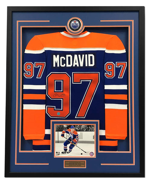 Connor McDavid Edmonton Oilers Autographed 35x43 Framed Replica Hockey Jersey