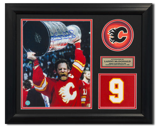 Lanny McDonald Calgary Flames Signed Retired Jersey Number 23x19 Frame