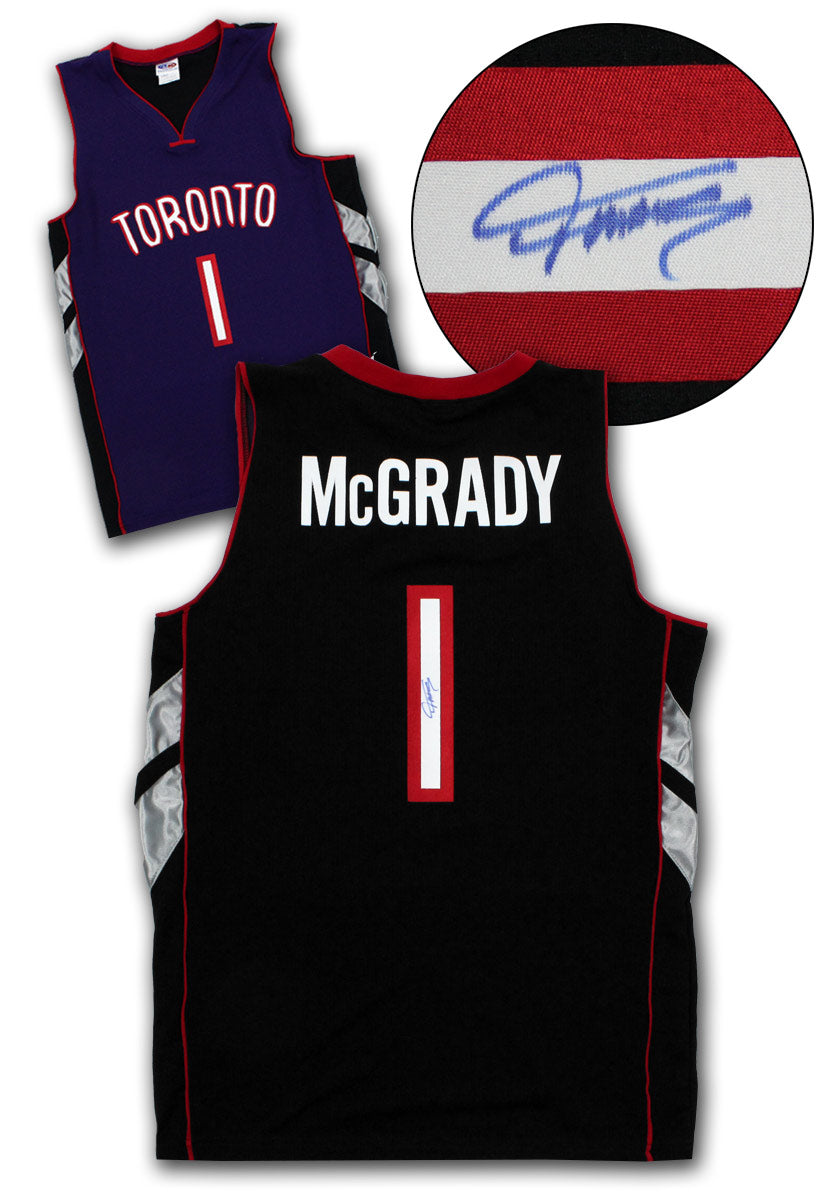 cheap for discount db544 031c3 Tracy McGrady Toronto Raptors Autographed Purple Black Custom Basketball  Jersey