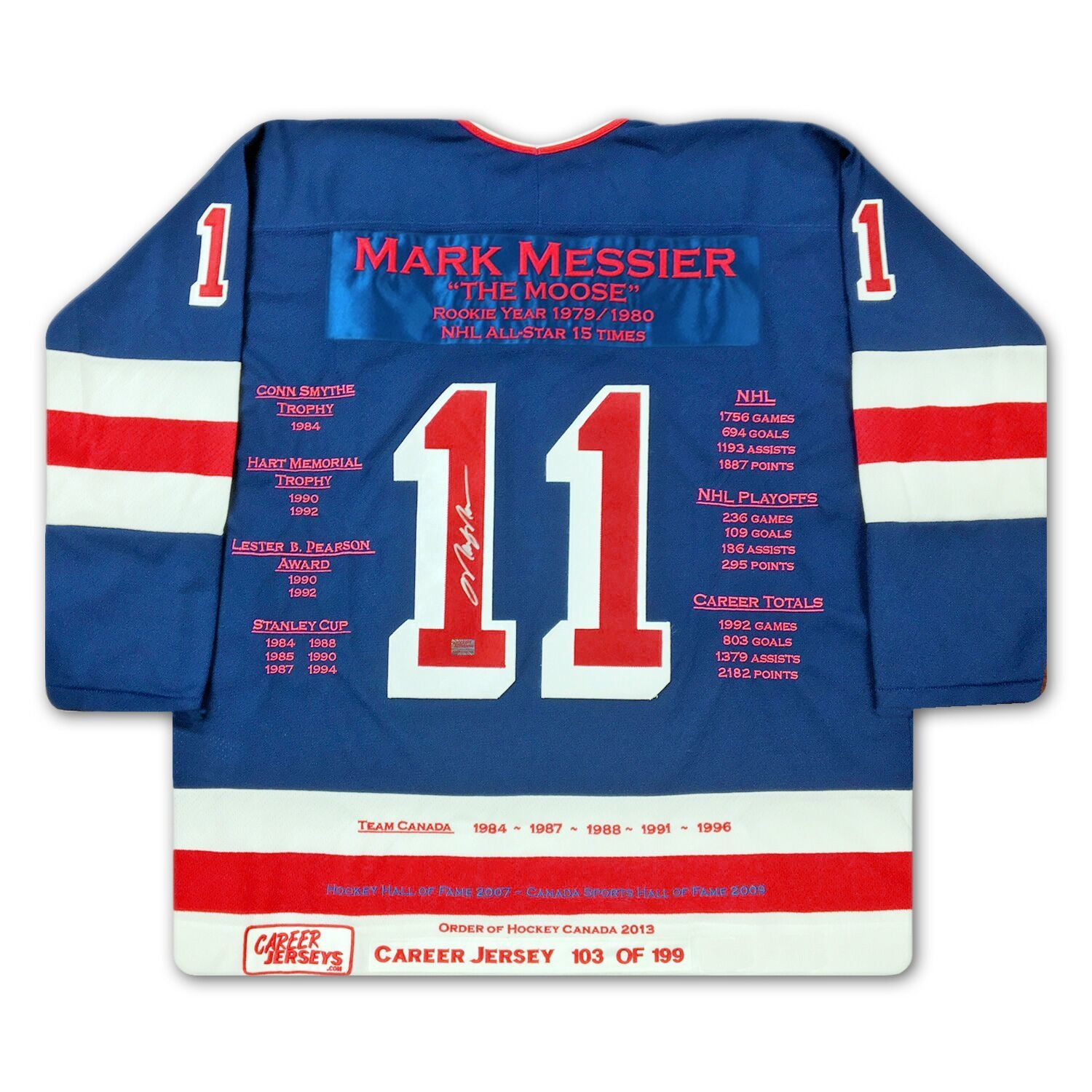 super popular d0ca2 2ff52 Mark Messier New York Rangers Autographed Career Stats Hockey Jersey LE/199