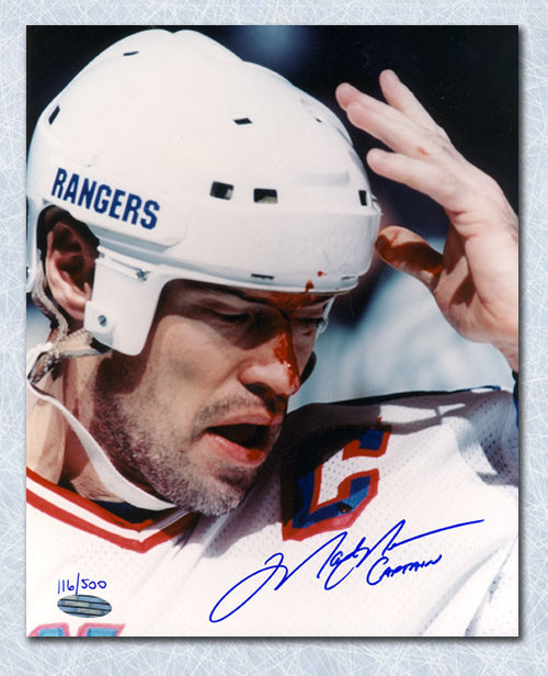 Mark Messier New York Rangers Autographed Bloody 8x10 Photo with Captain Note