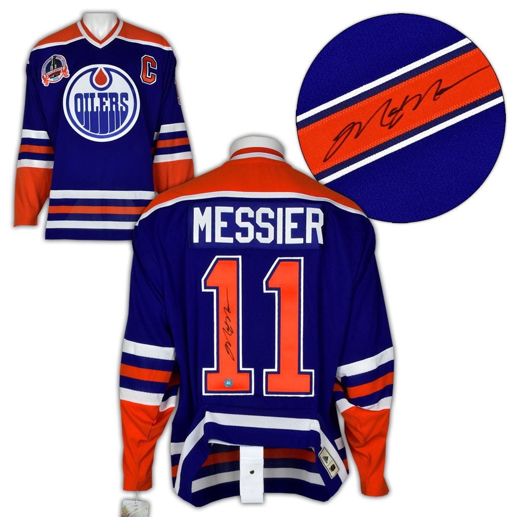 new arrival 9350d d2a19 Mark Messier Edmonton Oilers Signed 1990 Stanley Cup Adidas Pro Vintage  Jersey