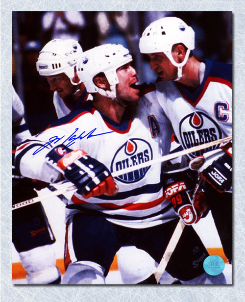 Mark Messier Edmonton Oilers Autographed Celebrating with Gretzky 8x10 Photo