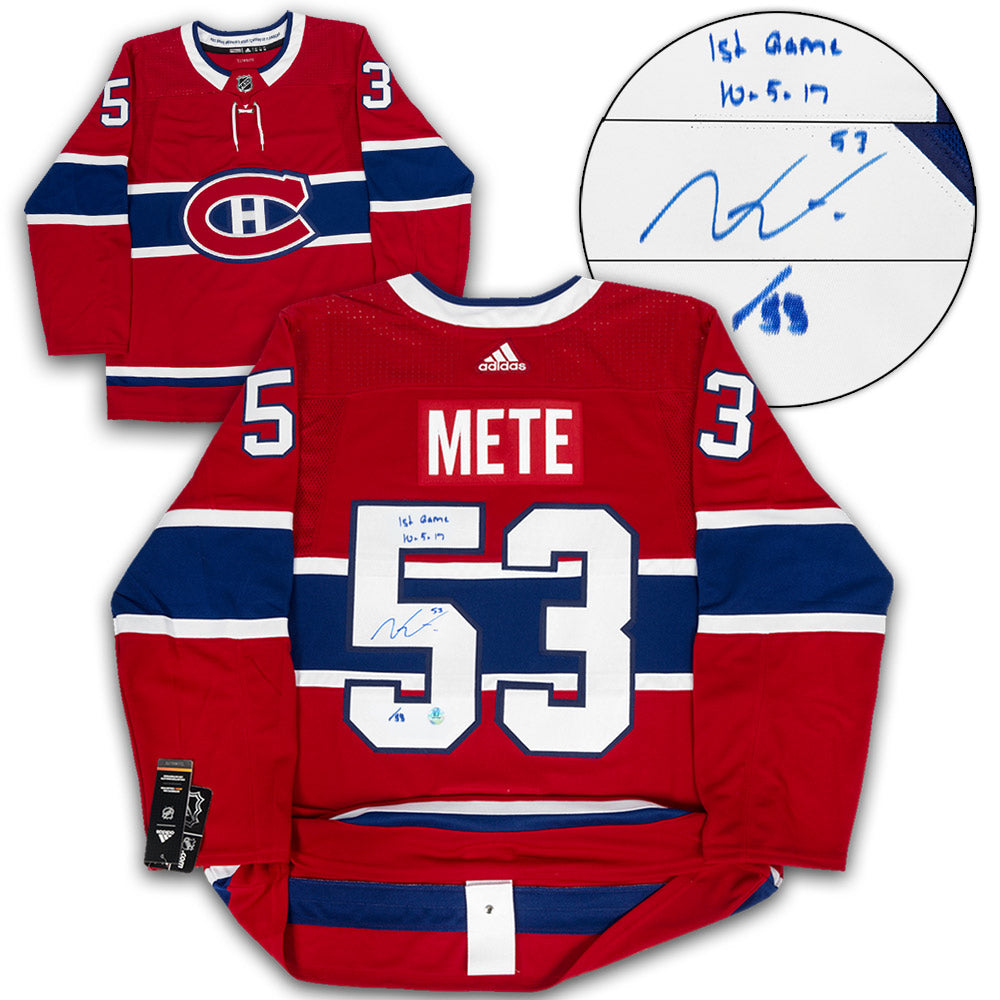 08a1ae249 Victor Mete Montreal Canadiens Signed   Dated 1st Game Adidas Authentic  Hockey Jersey  53