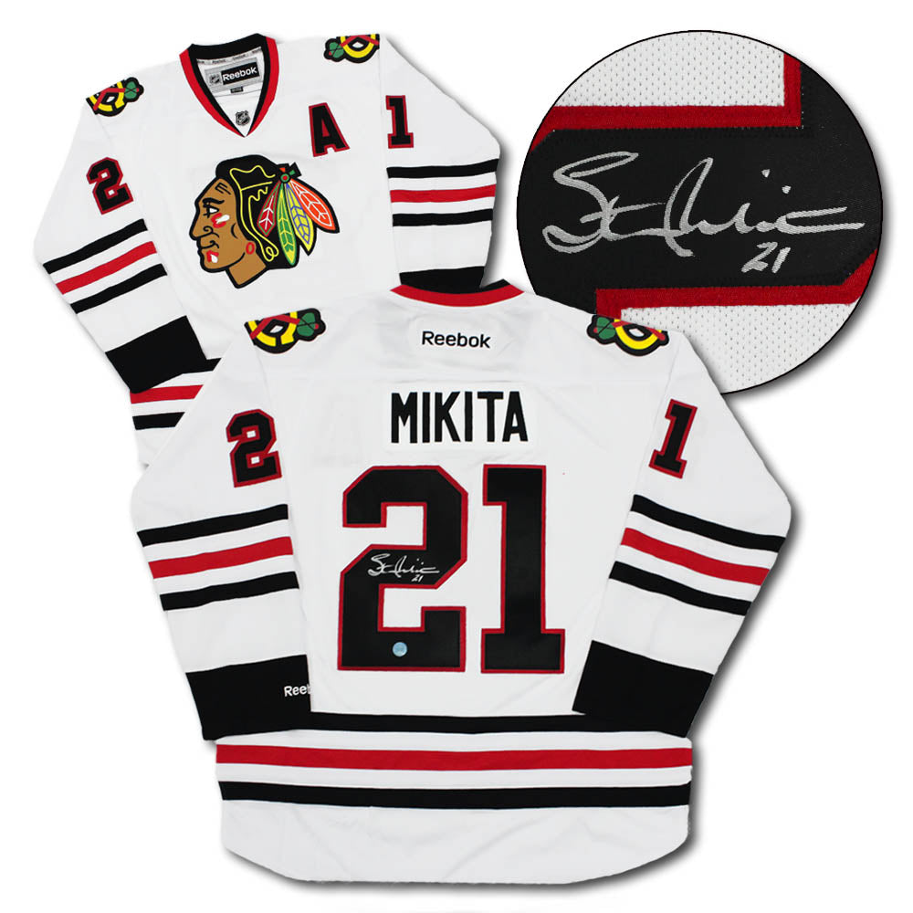 finest selection f8880 c6b6d Stan Mikita Chicago Blackhawks Autographed White Reebok Hockey Jersey