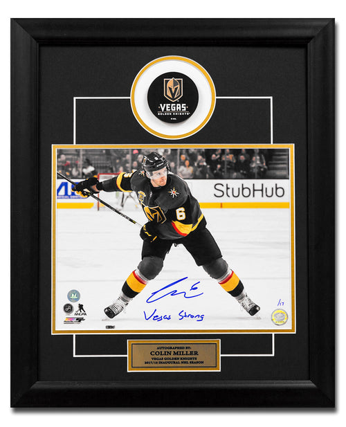 Colin Miller Golden Knights Signed Vegas Strong 23x19 Puck Frame #/17