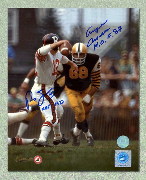 Russ Jackson vs Angelo Mosca Dual Signed CFL Football Legends 8x10 Photo