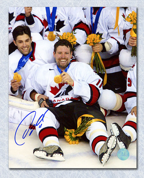 Owen Nolan Team Canada Autographed 2002 Olympic Gold Medal 8x10 Photo